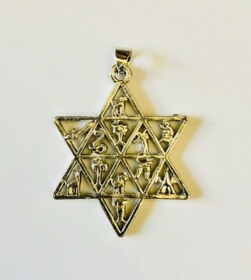 Jewish 12 Tribes of Israel emblems necklace pendant Silver plated FREE SHIPPING