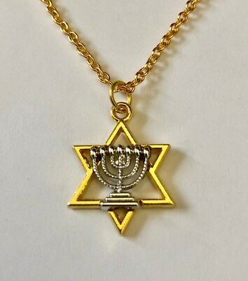 Gold Jewish Star of David w Silver Menorah in Center, FREE chain, FREE Shipping