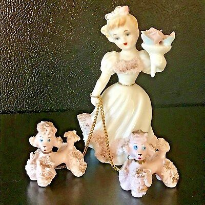 Vintage Lefton Poodles and Woman Pink Spaghetti Figures Puppy Mom Chain Label
