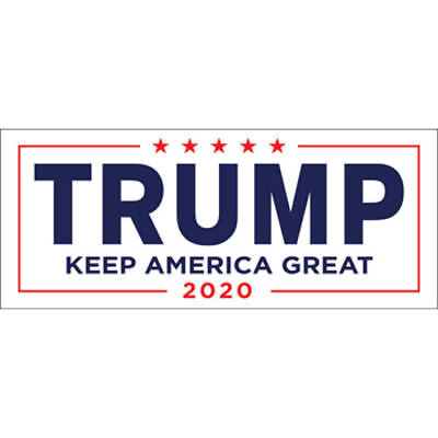 Donald Trump For President 2020 White Bumper Sticker Keep Make America Great