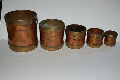 5 Brass Measuring Cups India Seer, The Orient Metal Pressing Works, Bombay