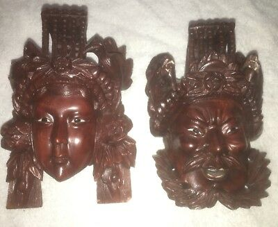 Vintage Chinese Asian red wood Masks hand carved in excellent condition