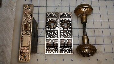 Antique  Brass door knob Latch and Escutcheons East Lake Victorian Complete
