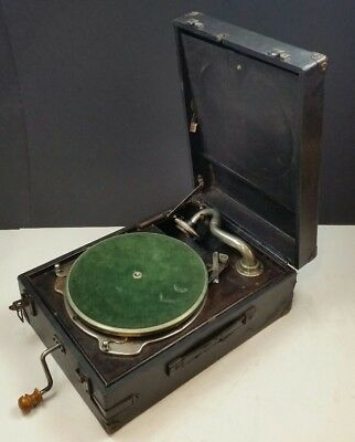 HMV Columbia 78rpm Portable Wind Up Gramophone Working 1920s 1930s Picnic