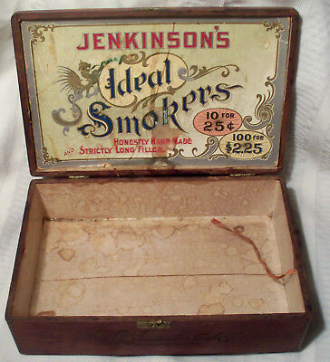 R W Jenkinsons Ideal Smokers antique wood cigar box Colorado Claro 1920s/1930s