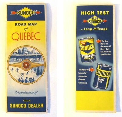 Vintage Sunoco Fold Out Road Map of QUEBEC & Maritime Provinces