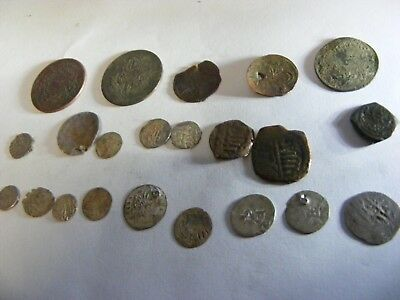 Lot of 22 old Ottoman/Muslim Silver  & Bronze coins, large & small, old used.