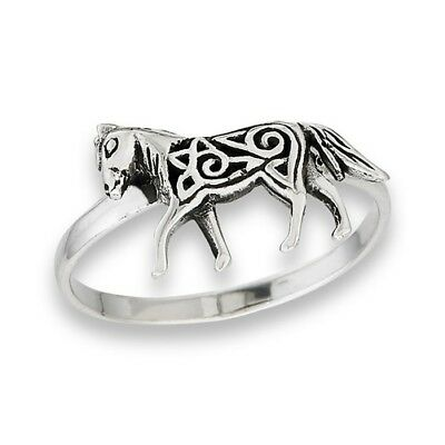 Unique Sterling Silver Horse Ring w Celtic Knotwork Body Size 5-9