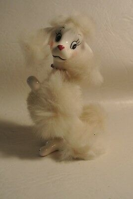 Vintage Vcagco White Poodle w/ Fur Hair &  Figurine/ in Original Package