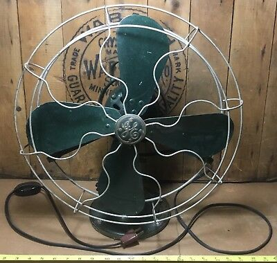 Antique Vintage GE 3-Speed Electric Fan 75425 Very Heavy General Electric Green