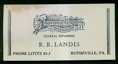 1890's Rothsville,PA - R.R. Landis Painting/Decorating/Paper Hanging Blotter