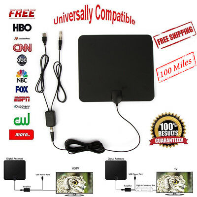 Flat Indoor Digital TV Antenna 200 Mile Range 1080P Signal Booster Amplifier HD
