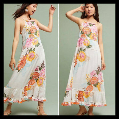 9a926a4245d NWT Anthropologie Farm Rio Havana Floral Dress Pom Pom Maxi M  188 4.5  STARS!