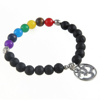7 Chakra Yoga Natural Stone Lava Beaded 3D Lucky Round Charm Bracelet Gifts
