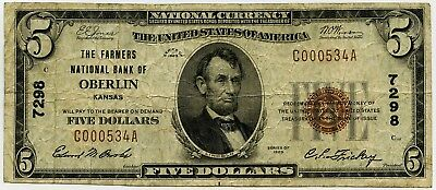 1929 National Currency $5 The Farmers National Bank of Oberlin KS Charter #7298