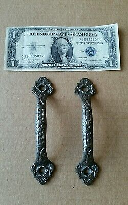 Pair of vintage Victorian style cast iron screen door handles,pulls restored