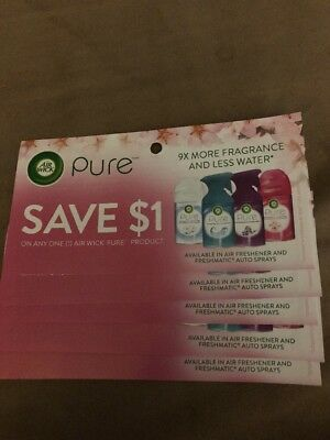 Save $1 on any Air Wick Pure Product coupons (5) expiry October 31, 2018