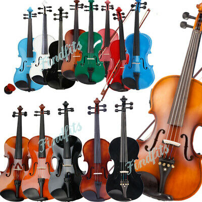 "4/4 Full Size Acoustic Violin Fiddle & 15"" 16"" Viola Set Case Bow Rosin Bridge"