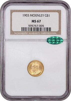 1903 McKinley G$1 NGC/CAC MS67 - Classic Commemorative - Gold Coin