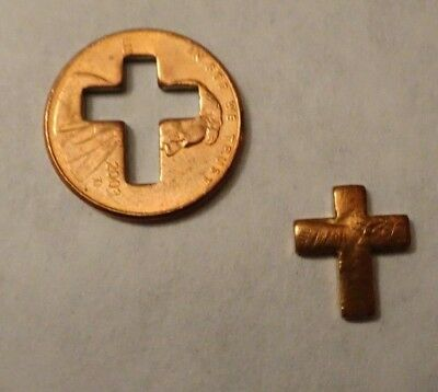 Cut Out Penny With Cross,charm Token Coin Set Of 2 Pcs.