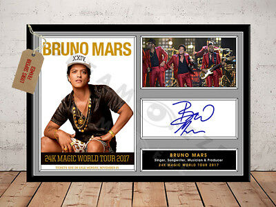 Bruno Mars 24K Magic Tour 2017 Autographed Signed Photo Print Presentation