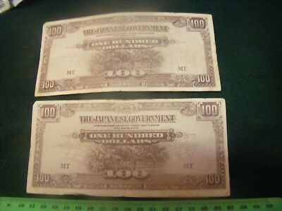 Lot of 2 Japanese Occupation $100.00 Banknotes of Malaya in WWII..(B).