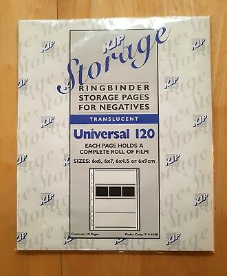 Kjp 710-440B Universal 120 Translucent Negative Film Pages (50 Pages Per Pack)