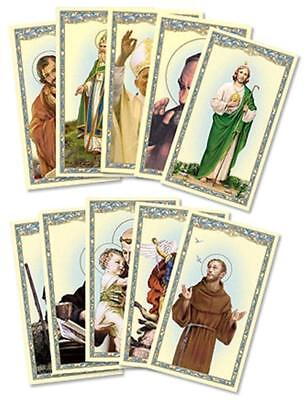 Assorted Catholic Male Patron Saint Holy Prayer Cards, 4 1/8 Inch, Pack of 100