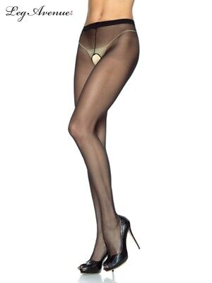 Leg Avenue 1905 Black Sheer Crotchless Pantyhose stockings Hosiery Burlesque