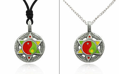 Yin Yang And Hexagram Silver Pewter Charm Necklace Pendant Jewelry