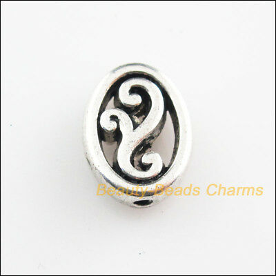 8Pcs Tibetan Silver Tone Oval Flower Flat Spacer Beads Charms 9.5x13mm