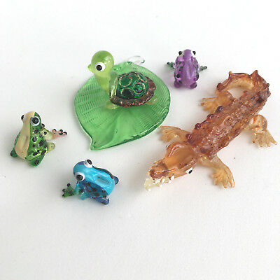 Aquarium Set Frog Turtle Crocodile Leaf Tree Glass Figurine Painted Figurine