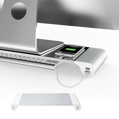 2018 New Computer Aluminium Monitor Stand for iMac PC Laptop 4 USB Charger CU