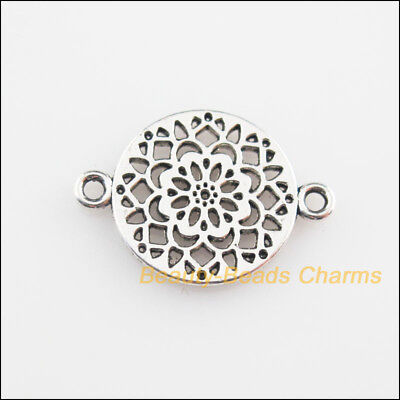 12Pcs Tibetan Silver Tone Round Flower Charms Connectors 14x20mm