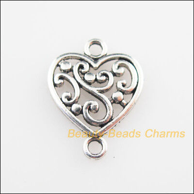 20Pcs Tibetan Silver Tone Flower Heart Charms Connectors 14.5x19mm