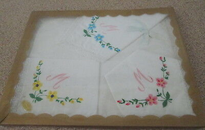 Vintage Boxed Ladies Handkerchiefs 100% Cotton Made In Japan Foral M Letter