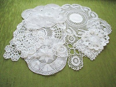 Vintage Mats Hand Crochet - Collection Of 10 - White