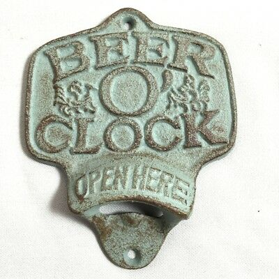 Beer O'Clock Wall Mount Painted Bottle Opener CI31-A-TQ-BOC
