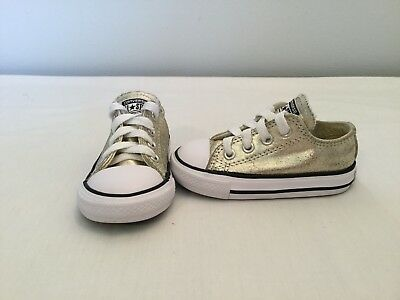 cbe3e91a531b CONVERSE ALL STAR Chuck Taylor Toddler Girls Gold Metallic Shoes~size 5 C -   18.00