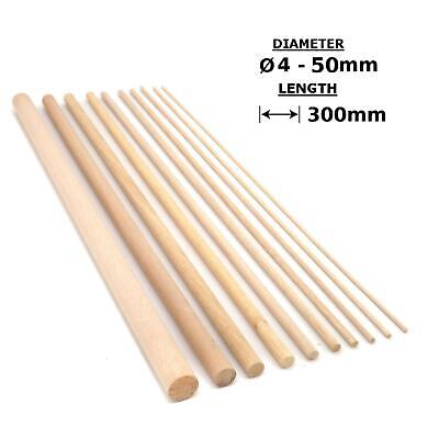 Beech Wood Dowels Smooth Rod Pegs - 300mm length, 4 - 50mm diameter