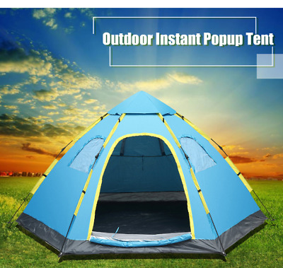 Automatic Tent Pop Up 5-8 Person Waterproof Double doors Beach Family Sunshade