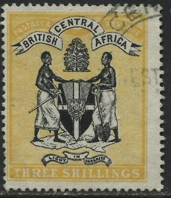British Central Africa 1896 3/ black & yellow revenue used