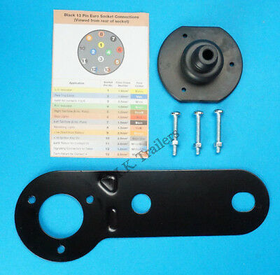 Mounting Plate Bracket with Gasket & Bolts for 13 Pin Towing Socket - Trailer