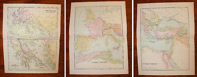 3 Maps Of The Ancient Greek & Roman World  (Lot Of 3 Maps)