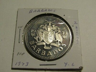 Barbados 1973 2 Dollars Proof Coin Free US Ship