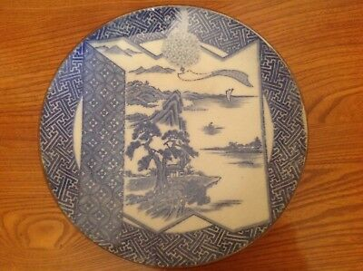 Large vintage Japanese blue white charger plate