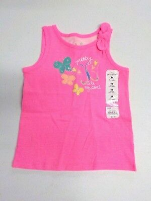 """GIRL/'S SIZE 18 M JUMPING BEANS GREEN//PINK /""""FAB LIKE MOM/"""" FLAMINGO TANK NWT #6123"""
