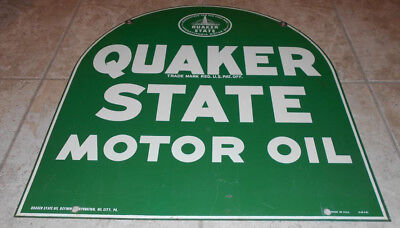 * VERY GOOD 1960's QUAKER STATE DOUBLE SIDED METAL SIGN LOCAL SOCAL PICK UP *