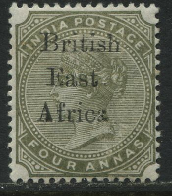 British East Africa 1895 overprinted on India 4 annas mint o.g.