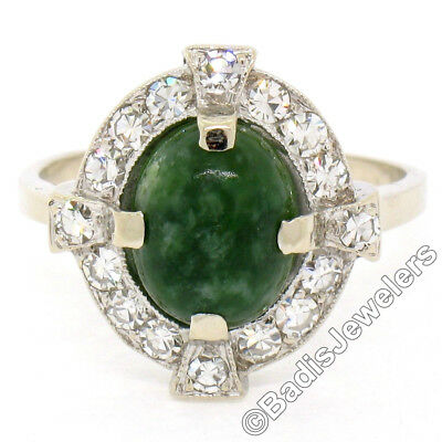 Antique Art Deco 14K White Gold Oval Green Turquoise & 0.90ctw Diamond Halo Ring